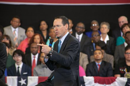 "AT&T Chairman and CEO Randall Stephenson participates on a panel at the town hall for the White House's ""My Brother's Keeper"" initiative held at Walker Jones Education Center on Monday, July 21."