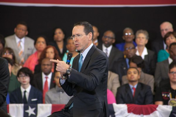 """AT&T Chairman and CEO Randall Stephenson participates on a panel at the town hall for the White House's """"My Brother's Keeper"""" initiative held at Walker Jones Education Center on Monday, July 21."""