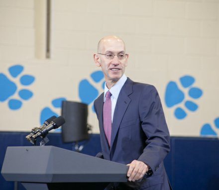 "NBA Commissioner Adam Silver participates in the town hall for the White House's ""My Brother's Keeper"" initiative held at Walker Jones Education Center on Monday, July 21."