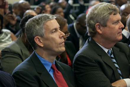 "Education Secretary Arne Duncan attends the town hall for the White House's ""My Brother's Keeper"" initiative held at Walker Jones Education Center on Monday, July 21."