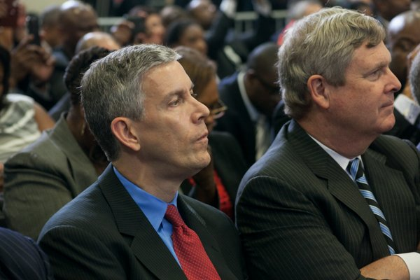 """Education Secretary Arne Duncan attends the town hall for the White House's """"My Brother's Keeper"""" initiative held at Walker Jones Education Center on Monday, July 21."""