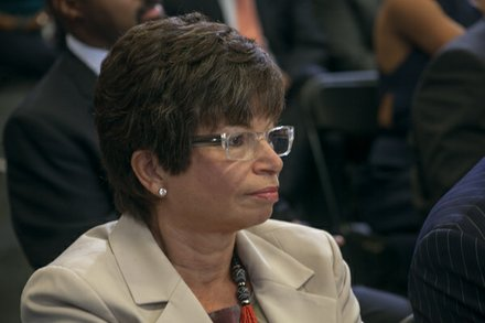 "Senior advisor to the President, Valerie Jarrett attended the town hall for the White House's ""My Brother's Keeper"" initiative held at Walker Jones Education Center on Monday, July 21."