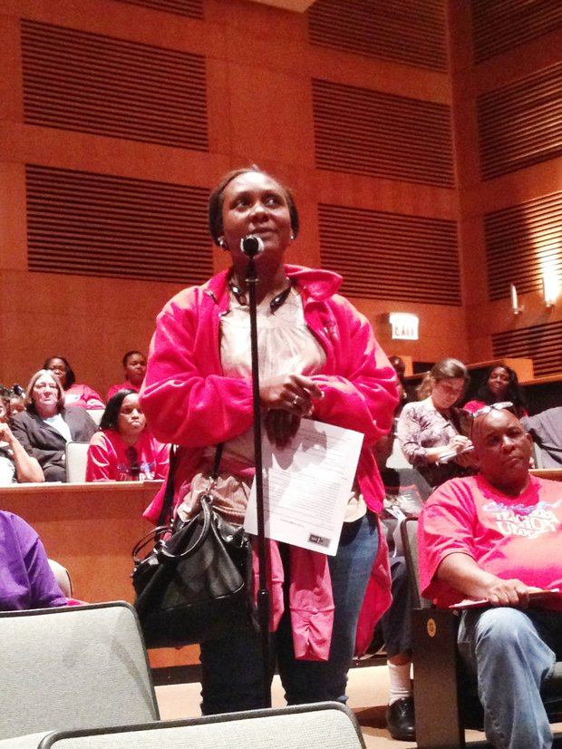 """I [wanted them] to address the cuts, any cuts, especially in a school geared toward technical education, cuts should not come out of the career and technical education programs and they should be based on performance instead of just because."" - Latisa Kendrick, a recently laid-off CPS teacher,  formerly of Simeon Career Academy, 8147 S. Vincennes Ave., was in attendance at KKC's budget meeting."