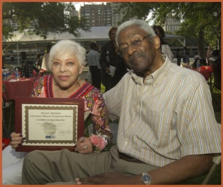 Candie Collins (Harlem Hospital Center auxiliary and Marjorie Matthews Community Advocate honoree), with husband, Ed Collins