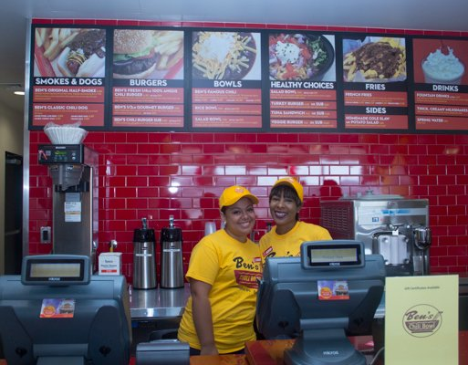 Employee staff at Ben's Chili Bowl's opening of the newest location at National Airport in Arlington, Va., on Wed., July 23.