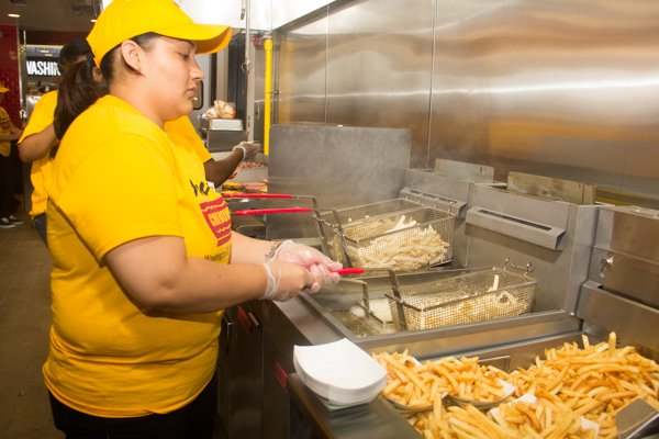 Sherrie Cierra an employee at Ben Chili Bowl's newest location at National Airport in Arlington, Va.