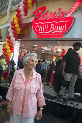 Ben's Chili Bowl matriarch, Virginia Ali, attends the ribbon cutting ceremony for the opening of the restaurant's new location at National Airport in Arlington, Va., on Wed., July 23.