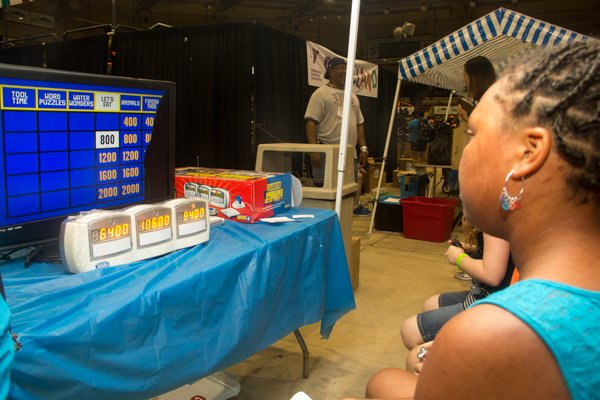 Madison Poole playing Jeopardy during the Thingamajig Conference hosted by the YMCA of Metropolitan Washington at Show Place Arena in Upper Marlboro, Md., on Thurs., July 24.