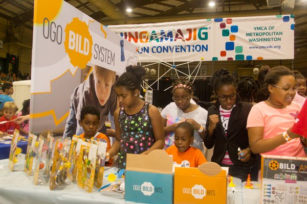 Mendran Public, Laiyla Mitchell, Kierra Willard and Kennedy Swann at the children's construction activity exhibit, Ogo Bild, during the Thingamajig Conference hosted by the YMCA of Metropolitan Washington at Show Place Arena in Upper Marlboro, Md., on Thurs., July 24.
