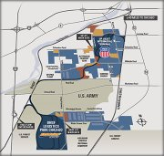 This map shows the layout of the 6,500-acre CenterPoint Intermodal Center, which is located in both Joliet and Elwood.