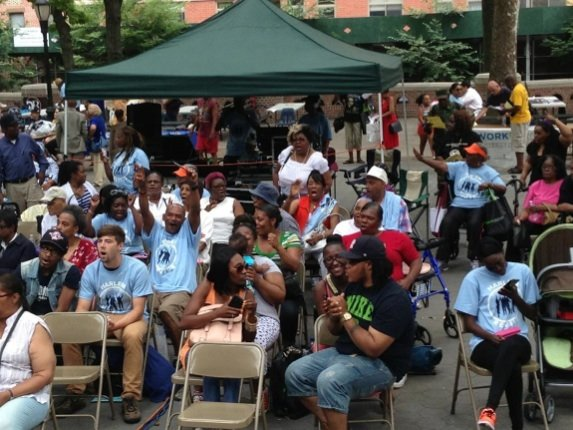 "Hundreds of Harlemites poured into the Bradhurst neighborhood's Jackie Robinson Park Amphitheater Saturday, July 19 to participate in ""Harlem Revive!: ..."