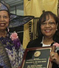 Mable Robertson, ABENY president, and Dr. Dorita Gibson, Educator of the year recipient