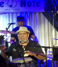 Poncho Sanchez with his band at the Blue Note (Ron Scott photos)