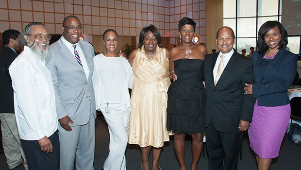 State Rep. Byron Rushing, Councilor Tito Jackson, Board Member Helen Credle, CEO Carole Montgomery, Board Member Paulette Jones, Councilor Charles Yancey and At-large Councilor Ayanna Pressle.  (Photo by Tony Irving.)