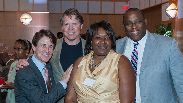 Brian O'Connor, Paul Dunfey, Carole Montgomery and Councilor Tito Jackson. (Photo by Tony Irving.)