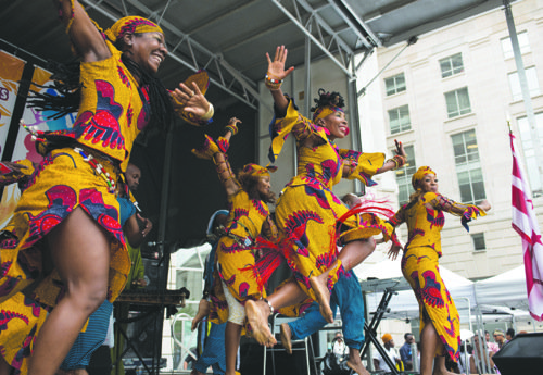 Dancers from KanKouran West African Dance Company performed during the 5th Annual DC Africa Festival on the grounds surrounding the Ronald Reagan Building and International Trade Center in Northwest on Sunday, Aug. 3.