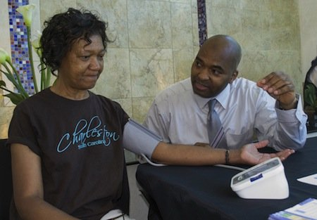D.C.-area resident Sadie Speight gets a blood pressure screening as part of her commitment to remain healthy. (Courtesy photo)