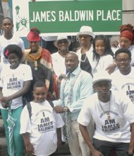 Family and friends of James Baldwin gather for his street naming.