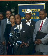 NAACP National President Cornell Brooks speaks at the NAACP press conference at One Police Plaza in lower Manhattan (Gideon Manasseh photo)