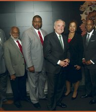 L to R: Geoffrey Eaton, Edward Josey, Leroy Gadsden, NYPD Commissioner William Bratton, Crisis magazine Editor and former Justice Laura Blackburne, NAACP National President Cornell Brooks, Jerome Wright and Ken Cohen