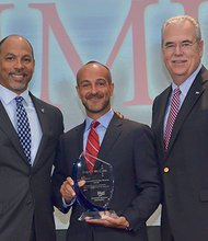 Massachusetts General Hospital received the first-ever AHA Equity of Care Award from the American Hospital Association. MGH is recognized for its efforts to reduce health care disparities and promote diversity within its leadership and staff. Shown are (l – r) Eugene Woods, Executive VP and CEO of Christus Health, Joseph Betancourt, Director of the Disparities Solutions Center, MGH (winner) and Rich Umbdenstock, President and CEO, American Hospital Association.