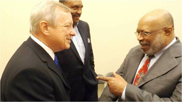 U.S. Sen. Dick Durbin (IL-D) shares a laugh with William Garth, Sr., CEO, Chicago Citizen Newspaper; Chairman, CBA.