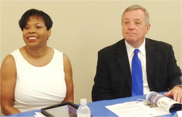 Melinda Kelly, Executive Director, CBA and U.S. Sen. Dick Durbin (IL-D) at CBA's monthly meeting.