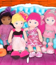 Emme 3+ GirlzNDollz $24.99 Emme is a multiracial, soft cutie who has funky boots and a stylish outfit. Her positive backstory makes girls feel good about her character. girlzndollz.com