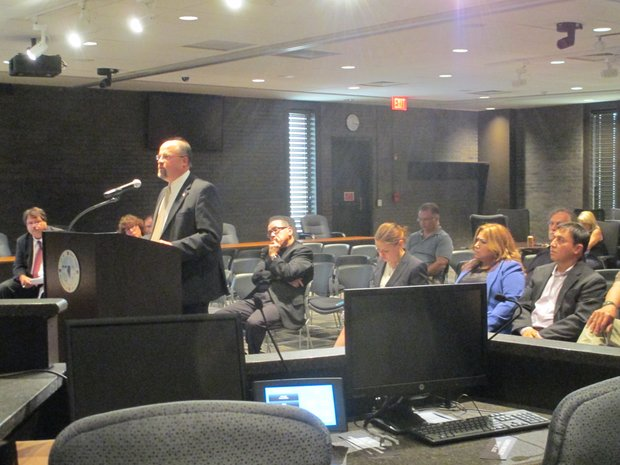 Joliet attorney Bryan Kopman addresses the Joliet Electoral Board in the first meeting on the challenge to the referendum petition to change Joliet's council structure.