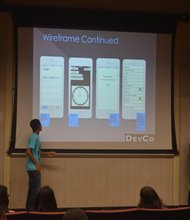 Students present their app to the group.