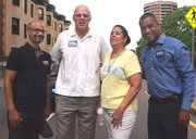 Novelist and MIT Professor Junot Diaz, candidate for attorney general Warren Tolman, Victoria Devers (wife of state Rep. Marcos Devers and Cambridge City Councilor Dennis Benzan. (Banner photo)