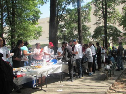"On Saturday, August 16, 2014, St. Vincent de Paul held ""The People's BBQ"" to feed the homeless at the St. ..."