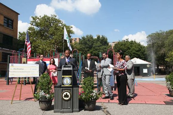 Brooklyn Borough President Eric L. Adams unveiled the parks funding component of his capital budget plan during a press conference ...