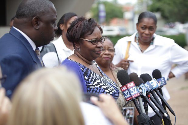 Jamille Kent, mother of murder victim Eric Glover, speaks to reporters following the verdict handed down against Bethany McKee, who was found guilty of murdering him and Terrance Rankins.
