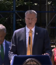 Mayor Bill de Blasio held a press conference at the Lincoln Houses on East 135th Street to announce a plan to fight crime in the city's public housing developments. 08/29/14