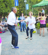 "Dillard Washington, a patron of ""Jazz in the Garden"" on Friday evenings, enjoys the ambiance, the music and the dancing at the National Gallery of Art's Sculpture Garden in Northwest."