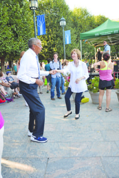 """Dillard Washington, a patron of """"Jazz in the Garden"""" on Friday evenings, enjoys the ambiance, the music and the dancing at the National Gallery of Art's Sculpture Garden in Northwest."""