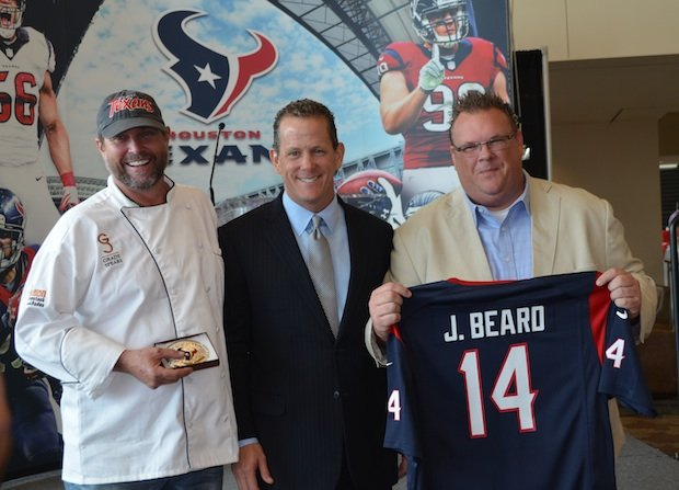 Chef Grady Spears;  Jamey Rootes, President of Houston Texans; and Chef Chris Shepherd