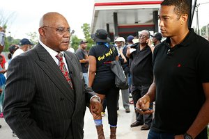 CNN reporter Don Lemon (r) interviewing Dorian Johnson, attorney for the family of slain 18-year-old Michael Brown. (Theo R. Welling photo)