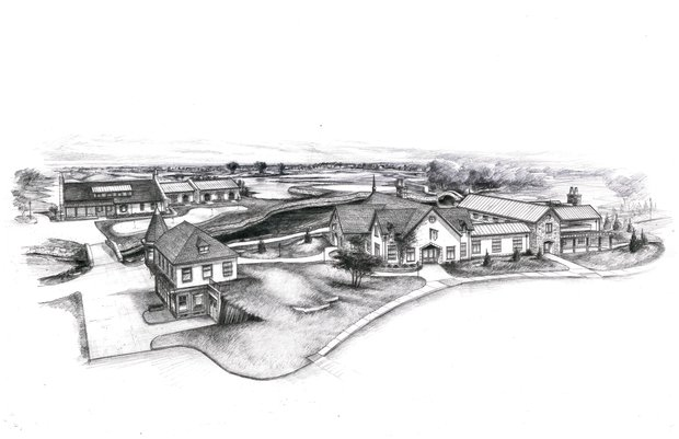 Artist's rendering of the new Mistwood Golf Club Clubhouse as it will appear from the front.