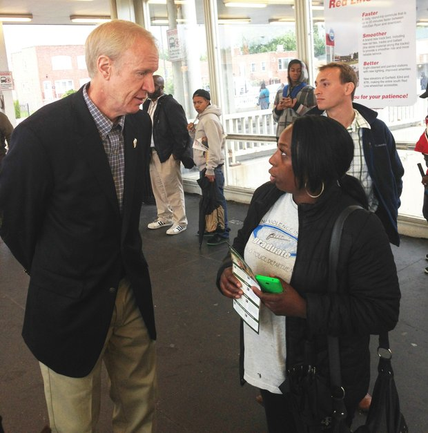 "Bruce Rauner visits 95th & Dan Ryan 2/3: Ill. Republican gubernatorial candidate, Bruce Rauner, visited the bus/train terminal on 95th & Dan Ryan during the morning rush hour commute on Sept. 15, 2014, to wish commuters ""good morning"" and encouraged them to vote on election day.  Rauner is challenging incumbent, Ill. Gov. Pat Quinn, in this year's 2014 Gubenatorial election. Voting for this year's state-wide election will be held on November 4."