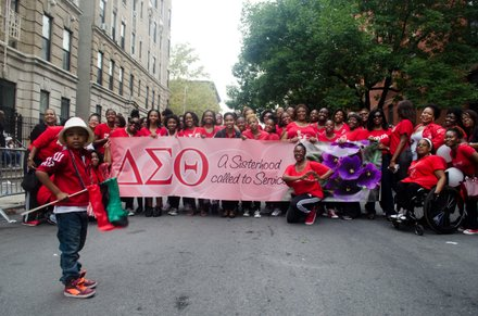 Delta Sigma Theta showed up in numbers to the 2014 African American Day Parade. Sept 21, 2014.