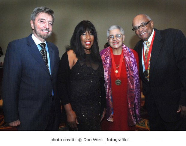 At the Annual Community Awards Dinner, John Drew, CEO of ABCD, Mary Wilson of the Supremes, Sara Ann Shaw, Hubie Jones.