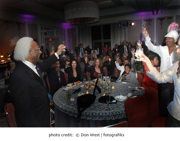 Marvin Gilmore toasts at his 90th Birthday celebration