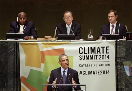 UNITED NATIONS (AP) — In the first international test for his climate-change strategy, President Barack Obama pressed world leaders Tuesday ...