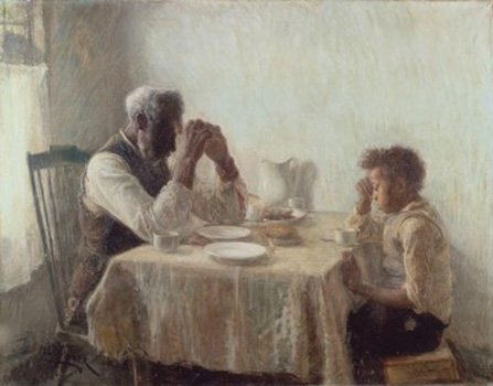 "An oil painting by Henry Ossawa Tanner, ""The Thankful Poor,"" is part of the William H. and Camille O. Cosby Collection that will be on view in November at the Smithsonian's National Museum of African Art."