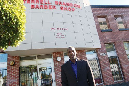 Terrell Brandon's passion for owning a barbershop to give people in the community a place to hang out and share stories, led to the construction of a new business complex at Northeast 14th and Alberta, which recently celebrated 20 years of operation.
