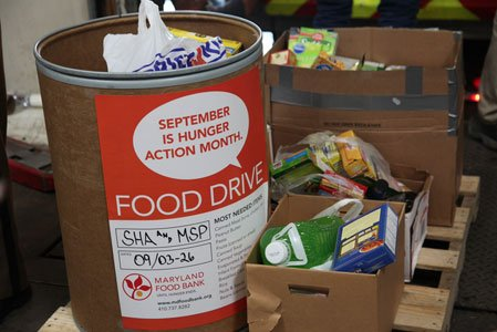 On Tuesday, September 30, 2014, at each of the Maryland Food Bank's three facilities, representatives from the Maryland State Police ...