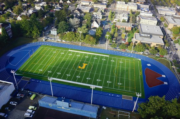 Jefferson High School scores new field for first home football game.