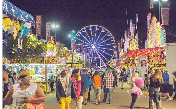 The State Fair of Virginia lights up the sky, as rides and colorful concessions welcome revelers on a cool autumn night. The annual event runs through Sunday, Oct. 5, at Meadow Event Park in Caroline County. Hours: 10 a.m. to 9 p.m. today and Sunday; 10 a.m. to 10 p.m. Friday and Saturday.